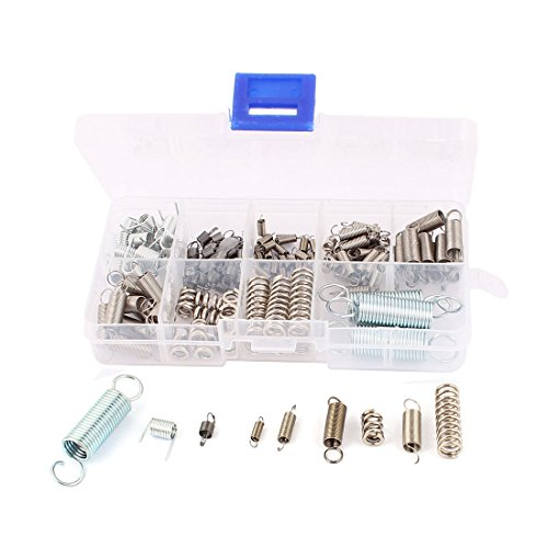 (uxcell 121Pcs Assorted Nickel plating Stainless steel Tension Compression Spring Box Packed Kit)
