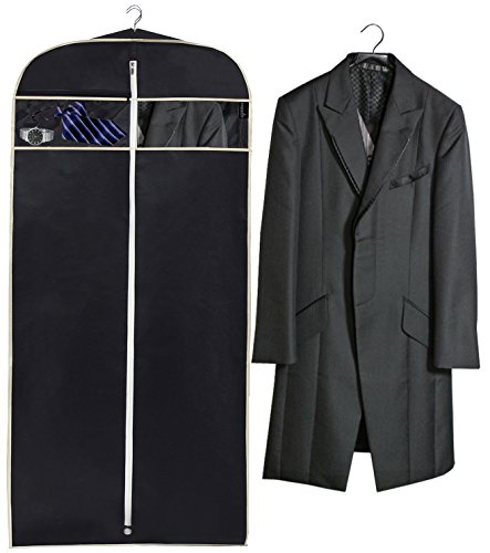 MISSLO 43'' Gusseted Travel Garment Bag with Accessories Zipper Pocket Breathable Suit Garment Cover for Shirts Dresses Coats, Black by MISSLO (Image #3)