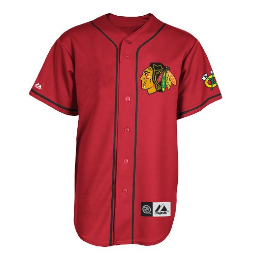 37e8d792222 Amazon.com : NHL Mens Chicago Blackhawks Replica Jersey Scarlet/Black Short  Sleeve Replica Button Front Jsy By Majestic (Scarlet/Black, Small) : Sports  Fan ...
