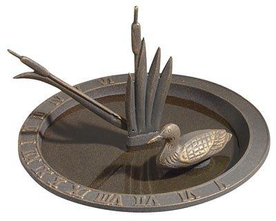 Whitehall Products Loon Sundial Birdbath, Oil Rub Bronze