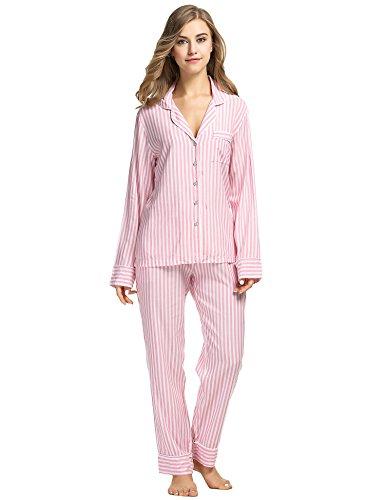 Button Shirt Front Cotton Striped - Ekouaer Pajama Set Womens Lightweight Comfy Sleepwear Lingerie Sets (Pink, Medium)