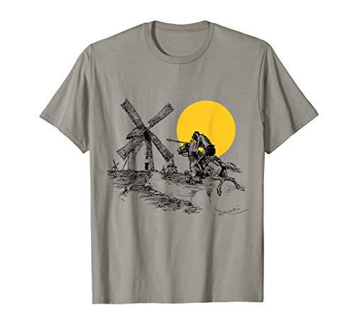 Don Quixote vs Windmill in Sunshine  T-Shirt