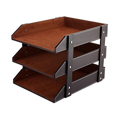 UnionBasic PU Leather Stackable Office File Document Tray Case Rack Desk File Document Organizer Holder (Brown - Desk Leather Organizer