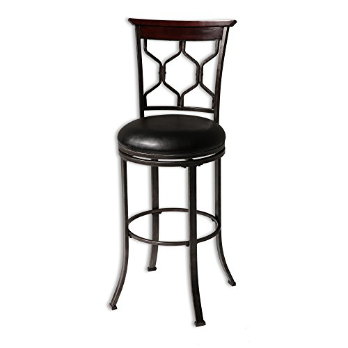 Fashion Bed Group Tallahassee Swivel Seat Bar Stool with Heritage Silver Finished Metal Frame and Black Faux Leather Upholstery, 30-Inch Seat Height