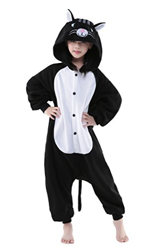 [Black Cat Kid's Christmas Cosplay Costume Kigurumi Pajamas Carnival Outfits Anime Onesie Gift Large] (50 Outfits For Kids)