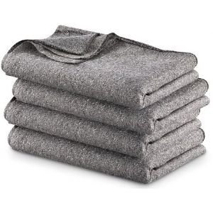Military Surplus Gray Wool Blend Blanket, 4 Pack, Gray, 4PKB by 4 Star Military Surplus