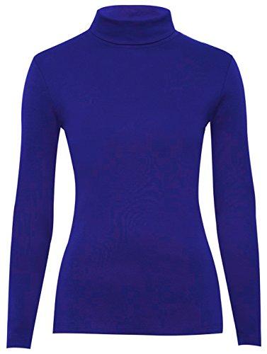 Para mujer Plain para el cuello de tortuga de manga larga Polo para el cuello Jersey traje de neopreno para mujer en la parte superior y papel de costura para camisetas de mujer 8-26 azul real