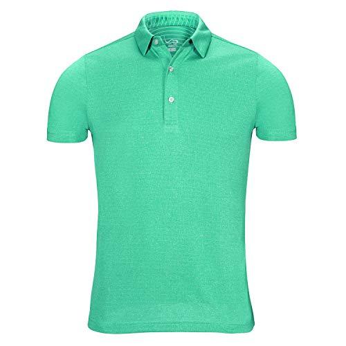 EAGEGOF Regular Fit Men's Performance Polo Shirt Stretch Tech Golf Shirt Short Sleeve Green Heather