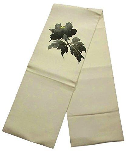 パイルフェローシッププランテーションリサイクル 名古屋帯 塩瀬 牡丹の花 墨絵調 正絹