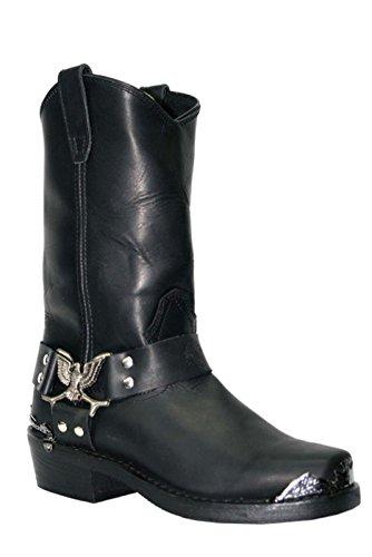 782f2e52431 Grinders Mens Black Biker Style Cowboy Boots Eagle Hi Western Leather Boots