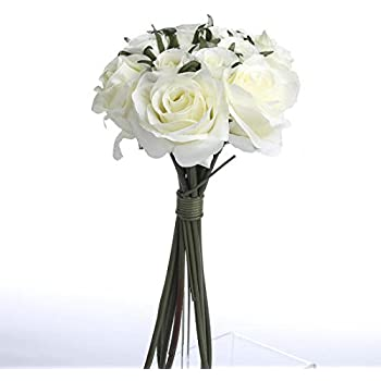 Amazon off white ivory artificial silk roses nosegay bouquet off white ivory artificial silk roses nosegay bouquet mightylinksfo