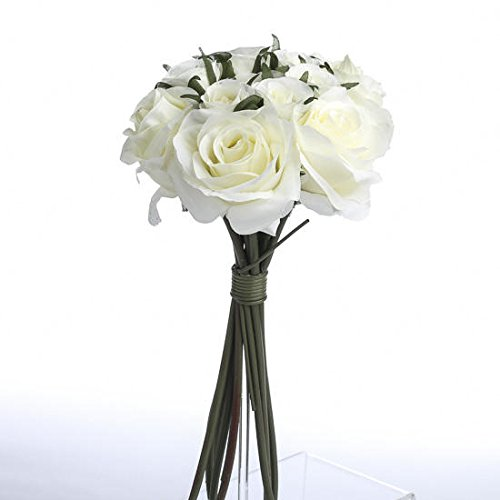 Factory Direct Craft Off White Ivory Artificial Silk Roses Nosegay Bouquet ()