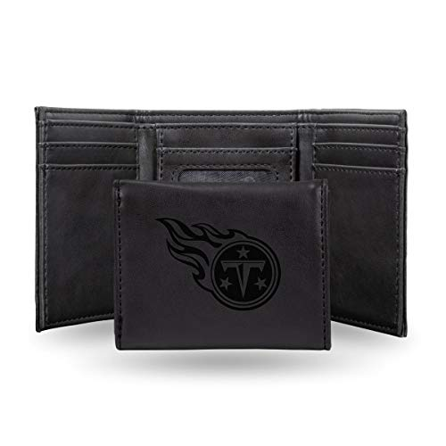 Rico Industries NFL Tennessee Titans Laser Engraved Tri-Fold Wallet, Black