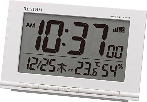 리듬 시계 자명종 전파 디지탈 피트 웨이브D193 전자음 알람 온도 습도6 요 캘린더 표시백 RHYTHM 8RZ193SR03