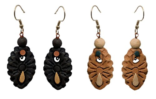 DollsofIndia 2 Pairs Terracotta Dangle Earrings - Length - 1.5 inches (RW14)