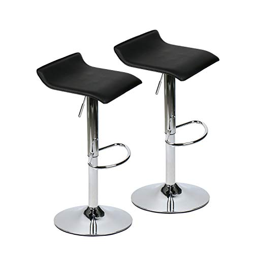 - 360 Degree Swivel Adjustable Bar Stool, Mordern Leather Pub Chair, Set of 2, Black