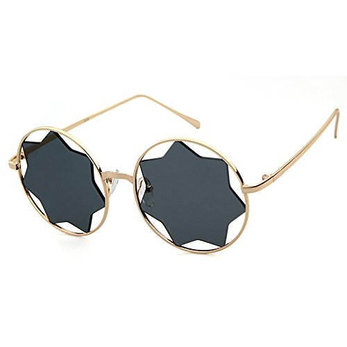 Vintage Round Clear Mirror Sun Glasses Metal Frame Star Shape Rimless Sunglasses (For Frame Round Best Shape Face)