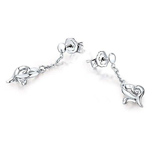 Beydodo 2.58g Platinum Dangle Earrings for Womens With Heart Pendant Earrings Drop Valentines Day Gift