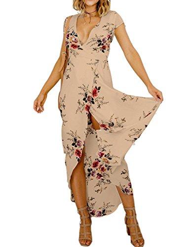 Idgreatim Women Lady Irregular Hem Split V Neck Maxi Long Dress Large Brown (Asymmetrical Floral Prom Dress)