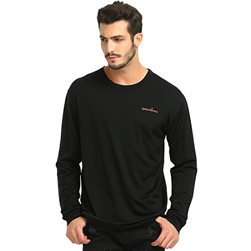 Woolove Merino Wool Long Sleeve Tee Lightweight Crew Neck Mens T Shirt (XX-Large, Black)