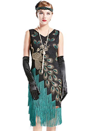 BABEYOND 1920s Vintage Peacock Sequined Dress Gatsby Fringed Flapper Dress Roaring 20s Party Dress (Black with Green Fringe, Large) -