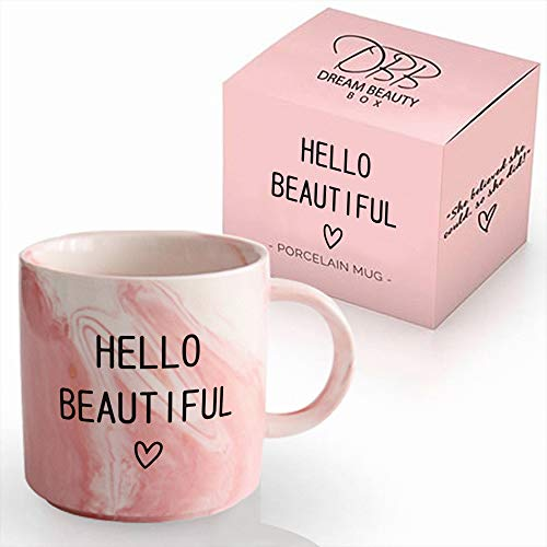 Hello Beautiful Coffee Mug Pink Marble | Perfect Present For Coffee Addict | Tea Lovers | Novelty, Funny Sassy Christmas Gift Idea | Quote Mugs | For Women | 11oz -