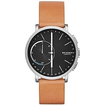 Skagen Connected Mens Hagen Titanium and Leather Hybrid Smartwatch, Color: Silver-Tone, Tan (Model: SKT1104)