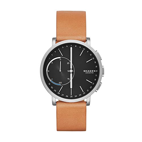 Time Grey Dial - Skagen Connected Men's Hagen Titanium and Leather Hybrid Smartwatch, Color: Silver-Tone, Tan (Model: SKT1104)