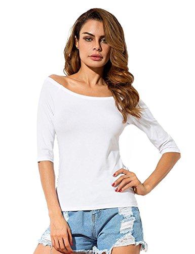 Women's Boat Neck Short Sleeve Blouse (Black/White) - 2