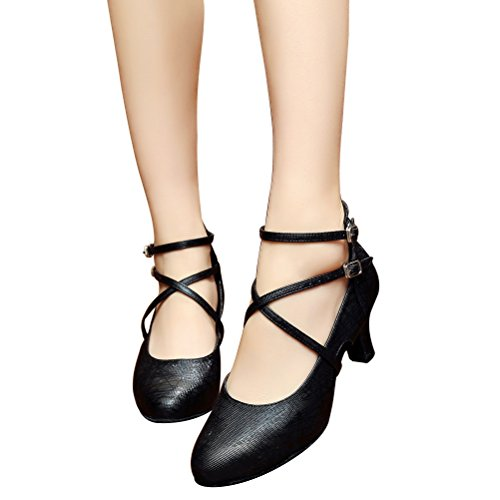 BCLN Womens Ballroom Dance Pumps Party Shoes with 2.4 Heel WcqmIiKfd