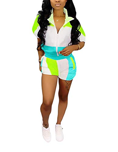 Womens Casual Two Piece Outfits Zip Up Patchwork Half Sleeve Jacket Top Shorts Pants Sets Blue + Green Size ()