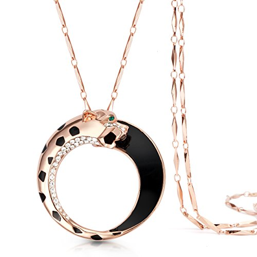 "The Starry Night Stereoscopic Cheetah Head Rose Gold Color 30.71"" Melon Seeds Chain Necklace for Fashion Women"