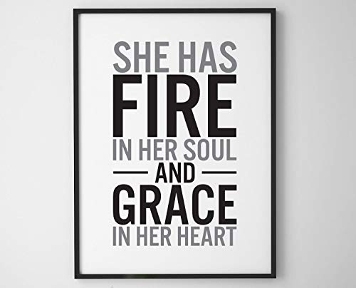 Writer Poster Digital Print She has fire in her Soul and Grace in her Heart Printable Wall Art Printable Quote Writer Home Decor -
