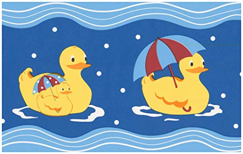 (Prepasted Wallpaper Border - Rubber Ducks Blue Wall Border Retro Design, Roll 15 ft. x 7)
