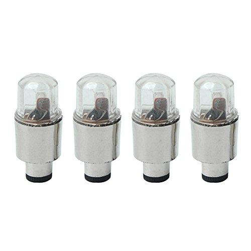 4x Bouchons de Valves Lumineux Pneu LED pour Voiture Vélo + 12 Piles Bouton