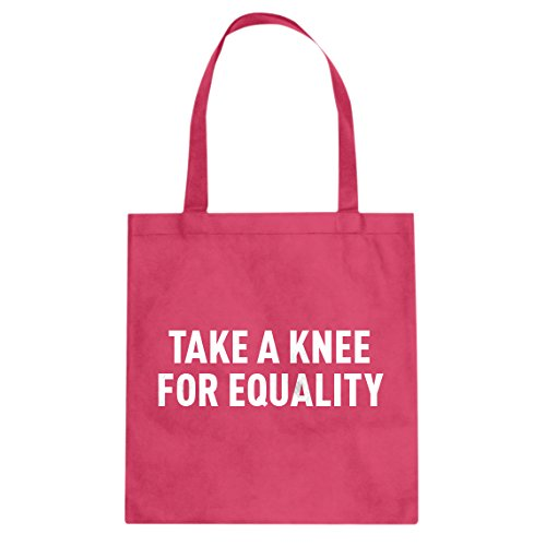 Tote Take a Knee for Equality Large Hot Pink Canvas Bag ()