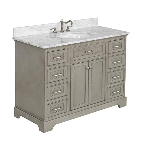 Aria 48-inch Bathroom Vanity (Carrara/Weathered Gray): Includes a Weathered Gray Cabinet with Soft Close Drawers, Authentic Italian Carrara Marble Countertop, and White Ceramic Sink
