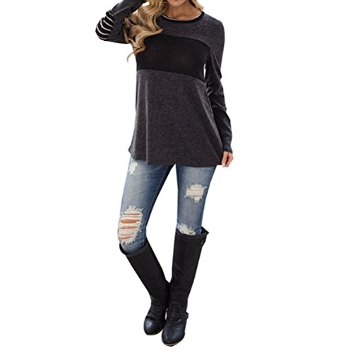 Tloowy Clearance! Women Ladies Casual Round Neck Color Block Elbow Patch Long Sleeve Shirt Tops Loose Blouse (Gray, XL)