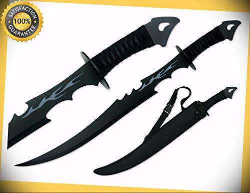 28'' Black Ninja Machete with Black Full Tang Blade Grey Flame perfect for cosplay outdoor camping