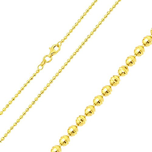 (Sterling Silver 2.0 mm Gold Plated Diamond Cut Bead Ball Chain Necklace, Made in Italy (18'))