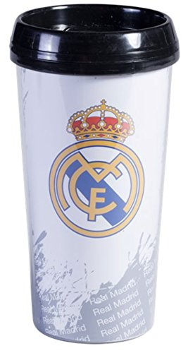 Real Madrid FC Travel Mug - Mug Holds 16 Ounces - Hot and Cold Beverages - Real Madrid Travel Mug is perfect for anyone  - Perfect for Soccer and Football League Fans