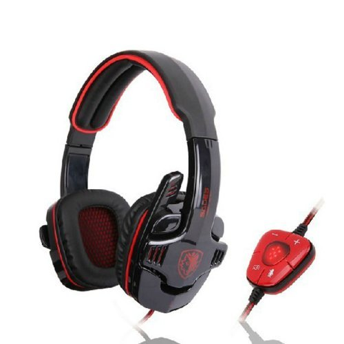 Sades® SADES Professional USB PC Gaming Headset with Mic & Remoter (SA-901 Black + Red)