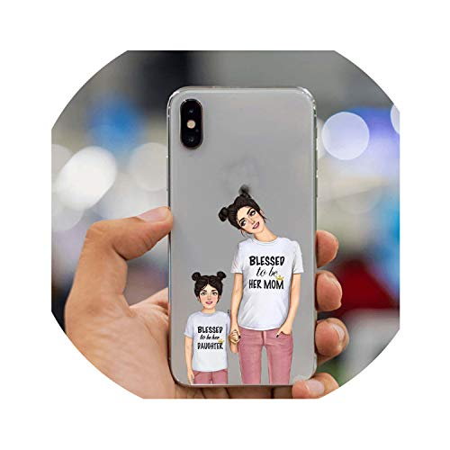 Fashion Black Brown Hair Baby Mom Girl Queen Case for iPhone X XS Max XR 8 7 6 6s Plus 5 5s SE 4S 5C Silicone Woman Phone Cover,TPU,for iPhone 8Plus