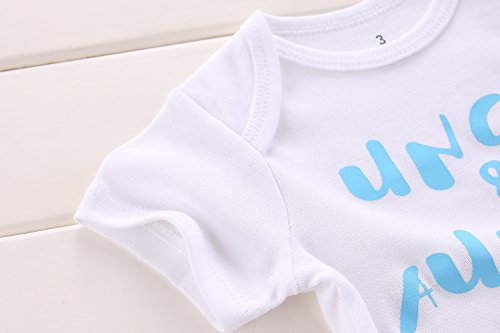 Winzik Newborn Baby Boys Girls Outfits Uncle Auntie Love Me Letters Print Baby Onesie Romper Jumpsuit T-Shirt (0-3 Months, White Blue) by Winzik (Image #2)'