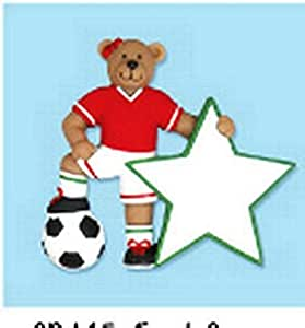 Girl Soccer Bear Ornament Personalize for Christmas or Wall Decor