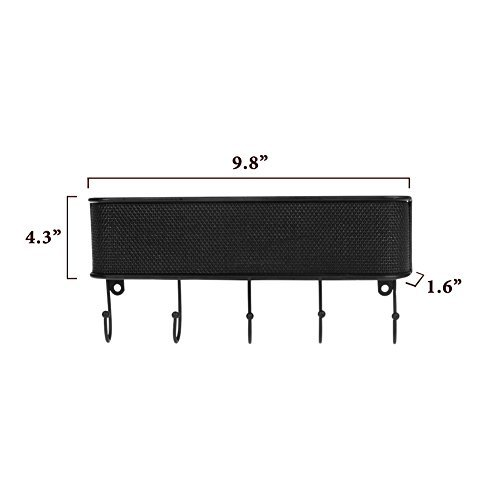 Letter Holder Mail Organizer with 5 Hooks Key Rack for Entryway, Anti Rust Wall Mount Mail Storage Basket for Kitchen Office with Hardware Screws Included by Keep Letter Holder (Image #5)