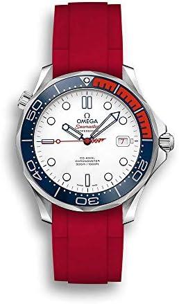 """Bracelet Caoutchouc pour Omega® Seamaster Diver 300m Co-Axial 41mm""""Commander's Watch"""" - Brossée, Rouge"""
