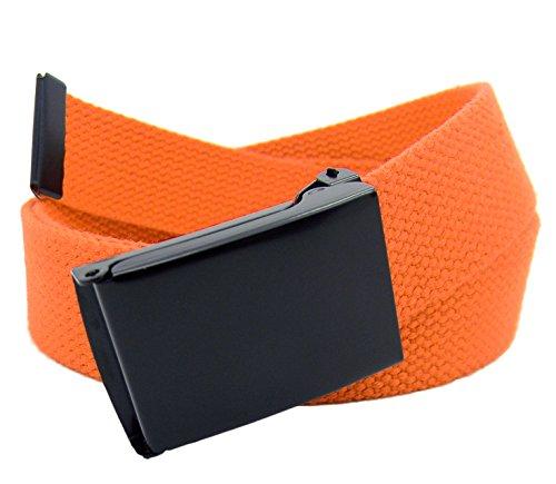 Boy's School Uniform Black Flip Top Military Belt Buckle with Canvas Web Belt Large Orange -