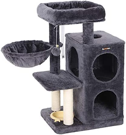 FEANDREA Multi-Level Cat Tree with Feeder Bowl, Sisal-Covered Scratching Posts, Dual Condo, Activity Centre Cat Tower Furniture, Smoky Grey UPCT57G