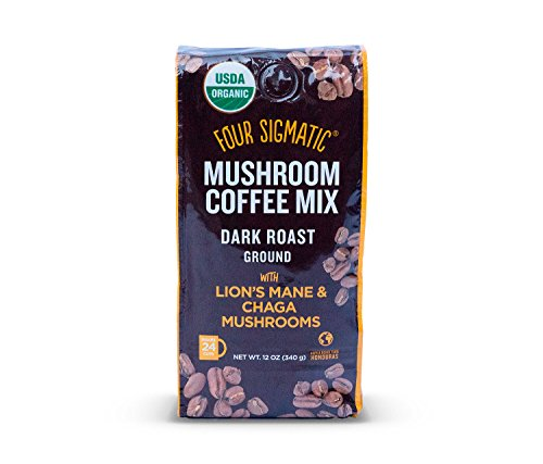 Four Sigmatic Mushroom Ground Coffee - USDA Organic and Fair Trade Coffee with Lions Mane and Mushroom Powder - Focus, Wellness - Vegan, Paleo - 12 Oz - Dark Roast -